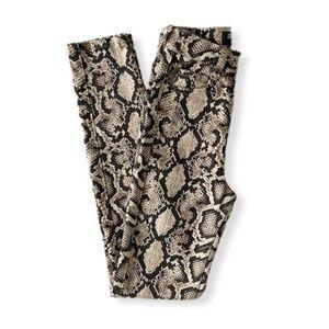 Zara Snakeskin Print Cream Skinny Jeans Size 0